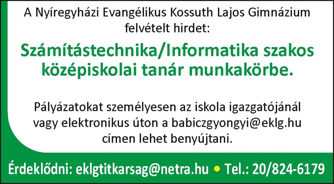 Számítástechnika, informatika szakos középiskolai tanárt keresnek a Kossuth Gimnáziumban
