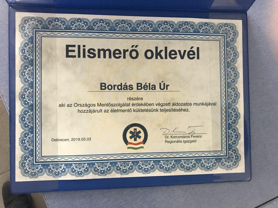 Elismerésben részesült Nyíregyháza városgondnoka, Bordás Béla