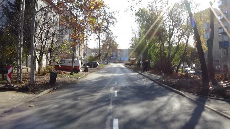Útburkolati jelek festését végzik a Szarvas utcán