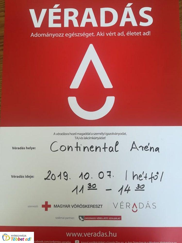 Véradás az Arénában - várják a sportcsarnokban azokat akik segíteni szeretnének