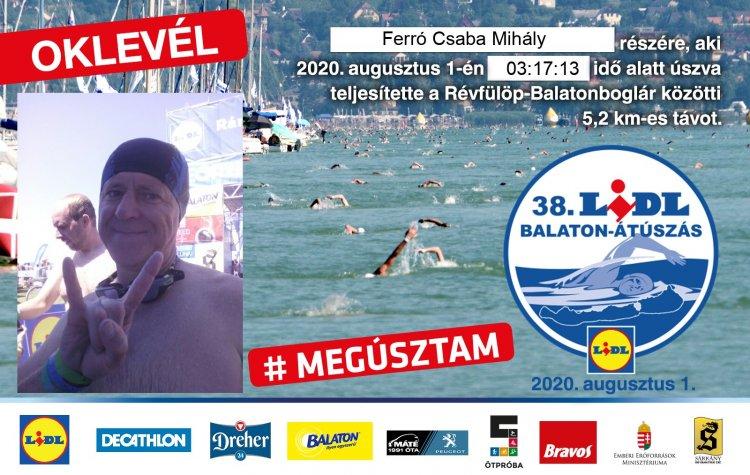 """38. Balaton-átúszás – Az 5,2 kilométeres távot a nyíregyházi Ferró Csaba is """"megúszta""""!"""