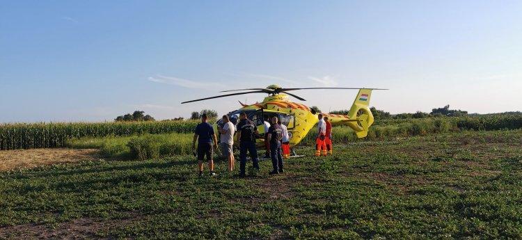Álló autónak ment a biciklis Demecserben – Mentőhelikopter szállította kórházba
