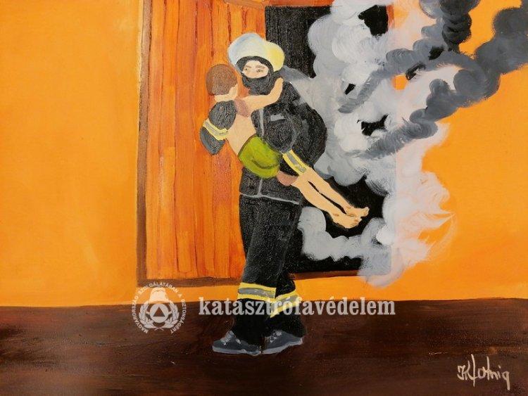 Hála a hősies munkáért - Festmények érkeztek a katasztrófavédőkhöz