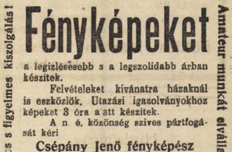 Csépány Jenő, a kormányzói kézirattal kitüntetett fényképész