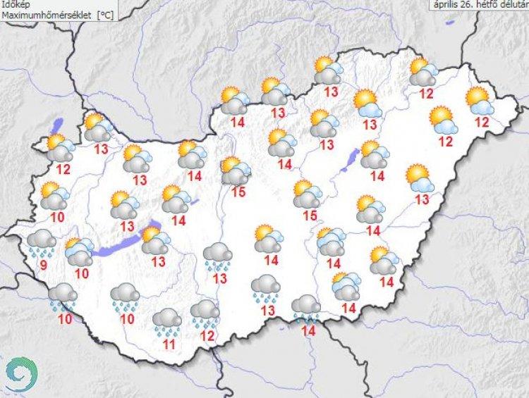 Országos Meteorológiai Szolgálat: Kettészakad az ország: hol eső, hol napsütés várható