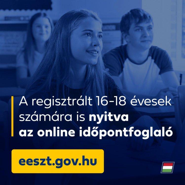 Hétfőtől már a regisztrált 16-18 évesek is tudnak online időpontot foglalni