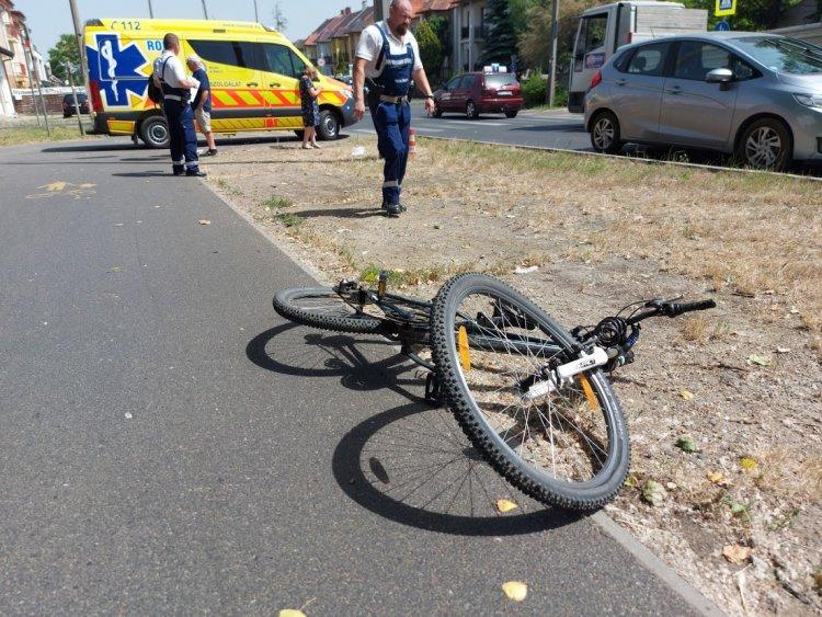 Egy kerékpáros és egy személygépkocsi ütközött a Korányi Frigyes utcán